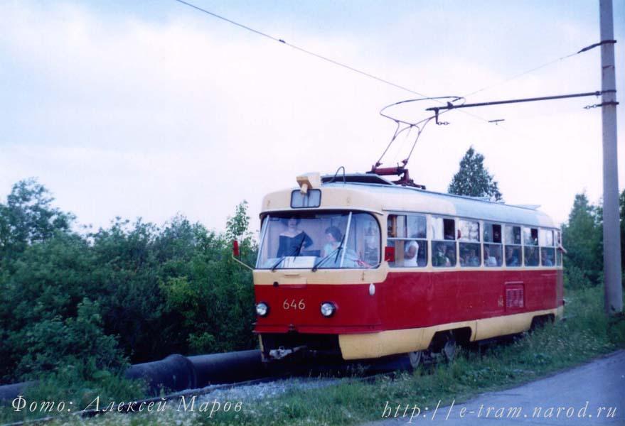 Вагон № 646 с дуговым токоприемником на 11 маршруте