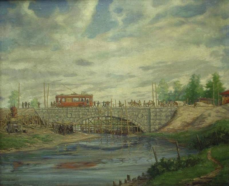 На картине Бориса Цветкова запечатлено строительство моста через Исеть по улице Куйбышева и трамвая