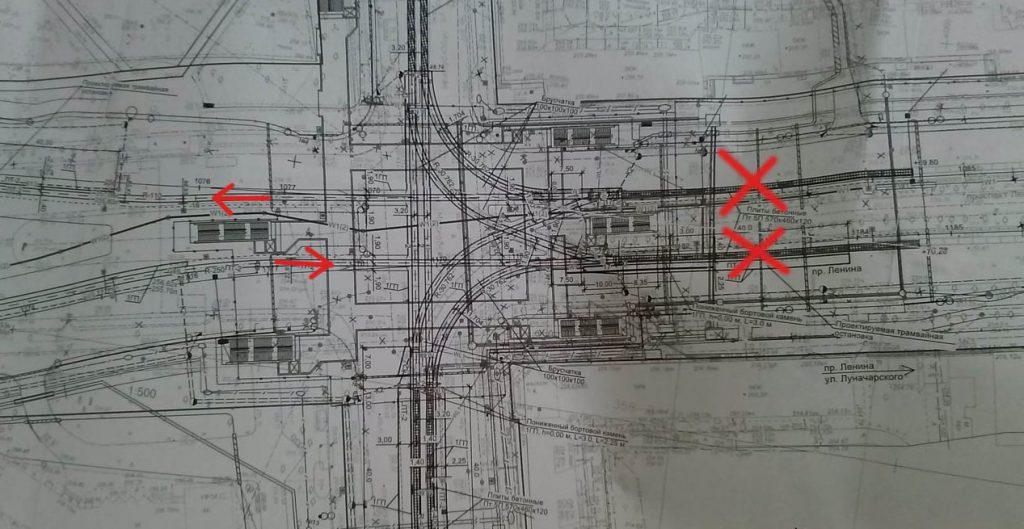Чертеж трамвайного узла «Площадь Коммунаров» после реконструкции.