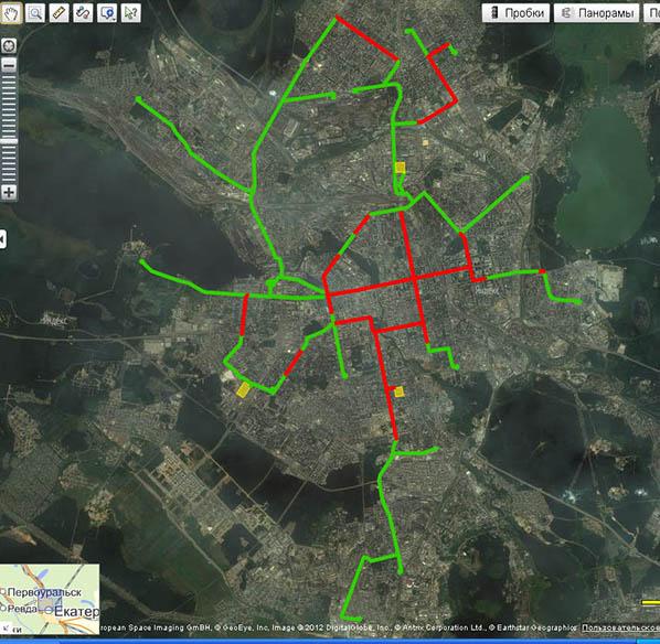 Соотношение обособленных и совмещенных трамвайных путей в Екатеринбурге