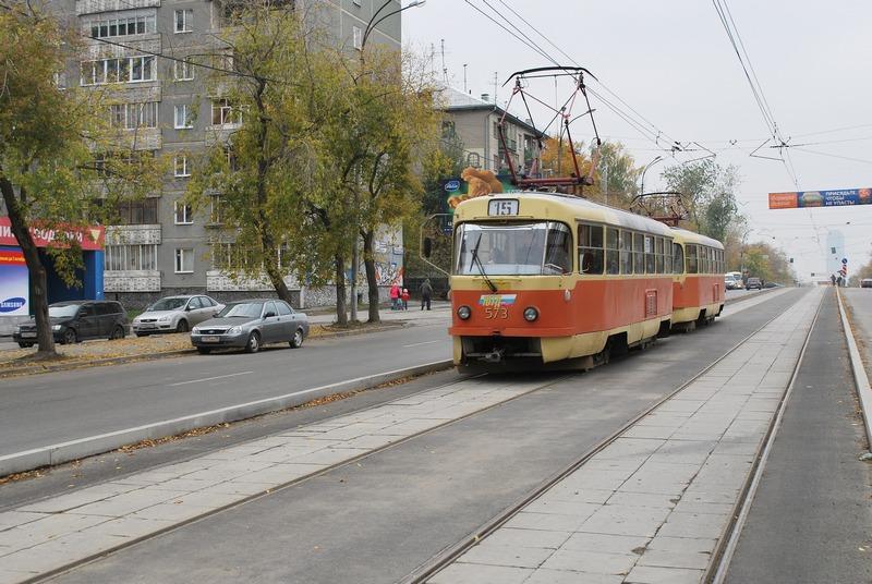 Обособление трамвайных путей на ул. Малышева