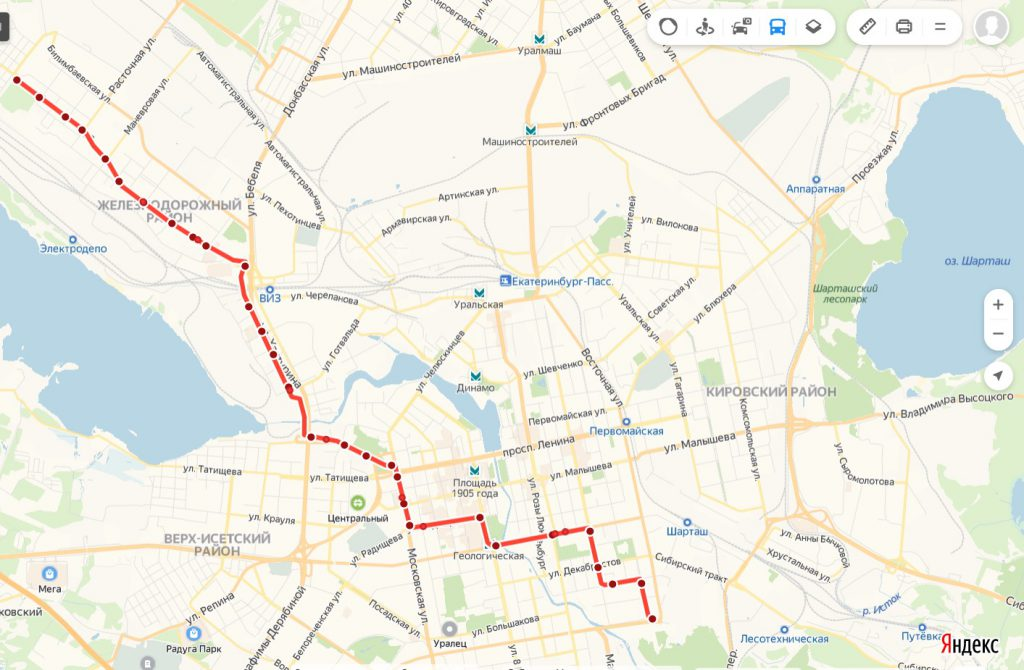 Схема трамвайного маршрута № 10 «ЦПКиО – 7 ключей»