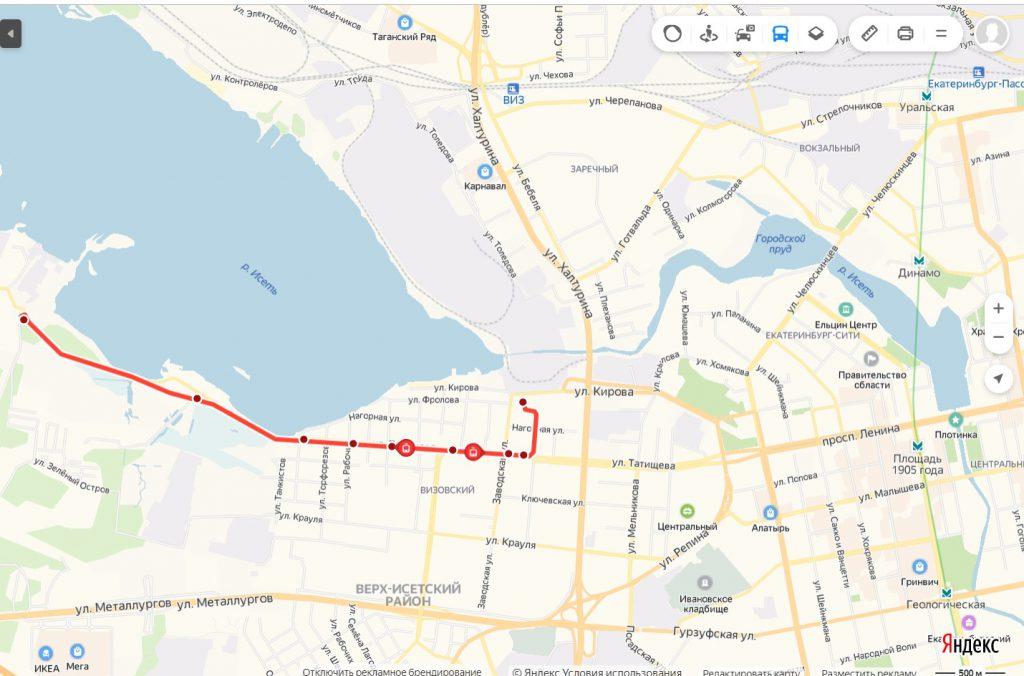 Схема трамвайного маршрута № 11 «ВИЗ – Зелёный остров»