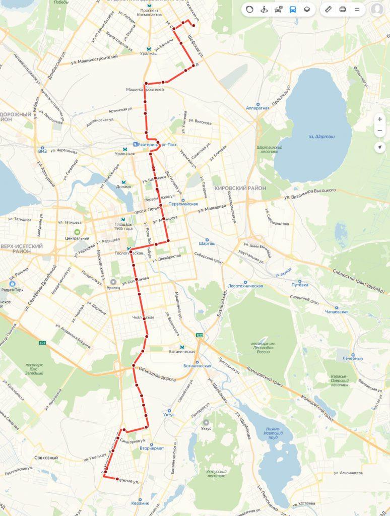 Схема трамвайного маршрута № 14 «Эльмаш – Керамическая»