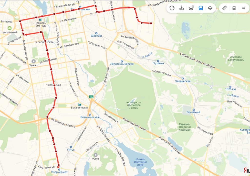 Схема трамвайного маршрута № 15 «40 лет ВЛКСМ – Вторчермет»