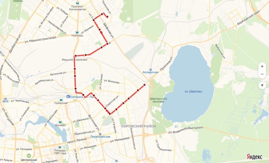 Схема трамвайного маршрута № 16 «Эльмаш – Шарташ»