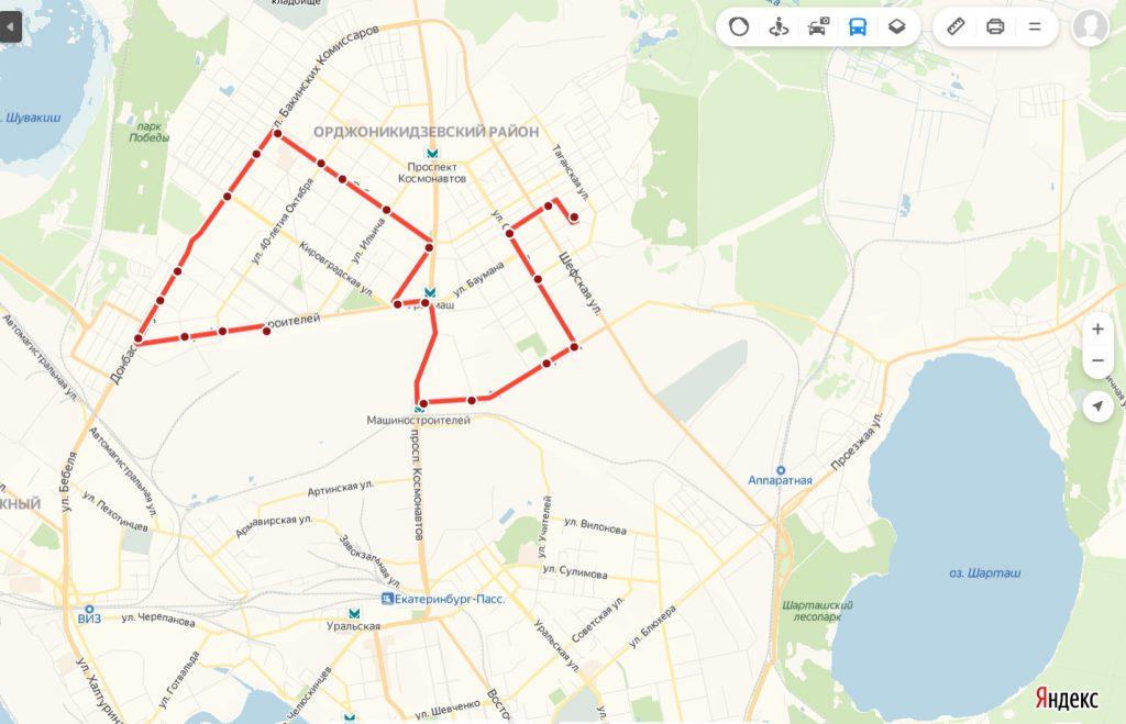 Схема трамвайного маршрута № 17 «Эльмаш –  Машиностроителей»