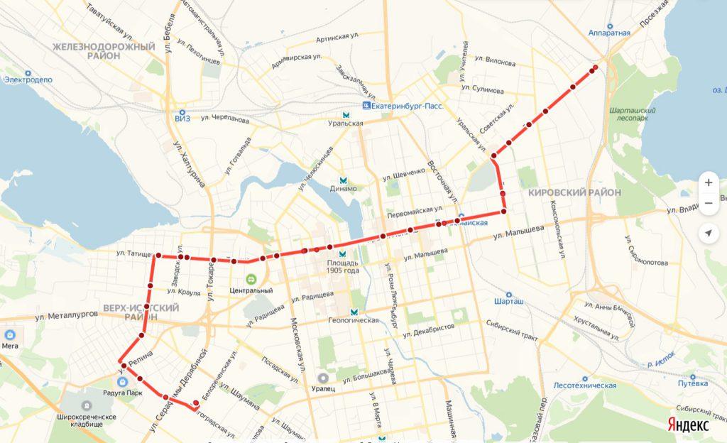 Схема трамвайного маршрута № 1 «Волгоградская — Шарташ»