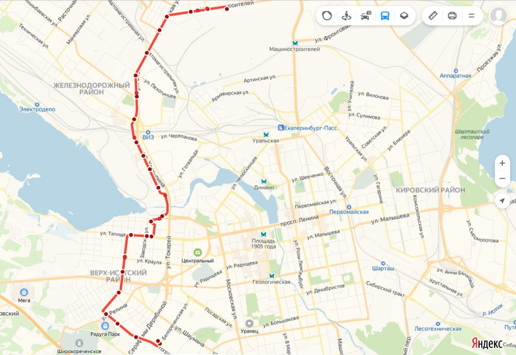 Схема трамвайного маршрута № 19 «Волгоградская – Машиностроителей»