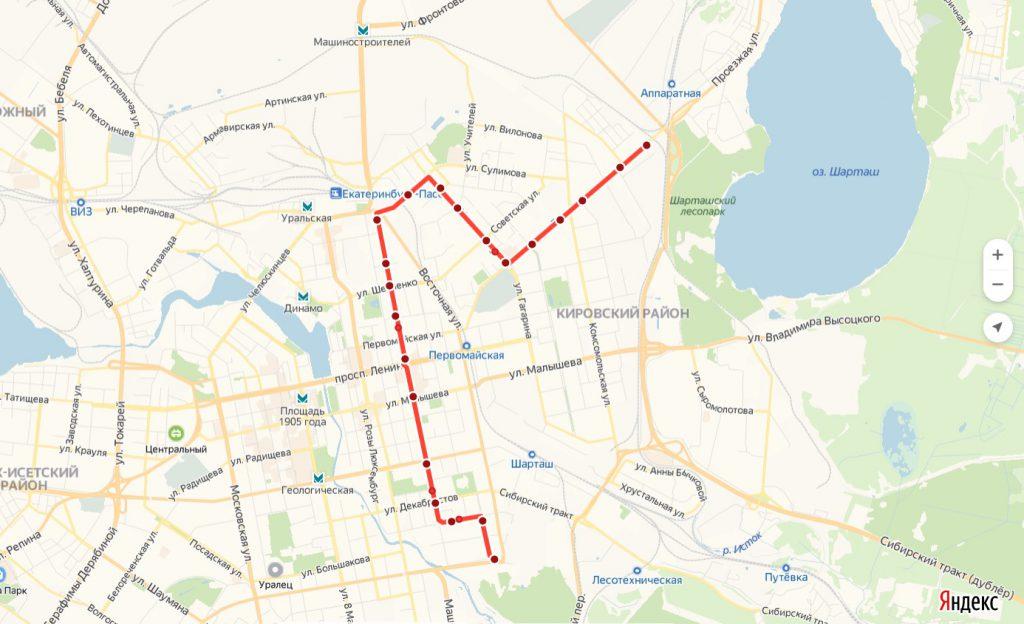 Схема трамвайного маршрута № 20  «ЦПКиО – Шарташ»