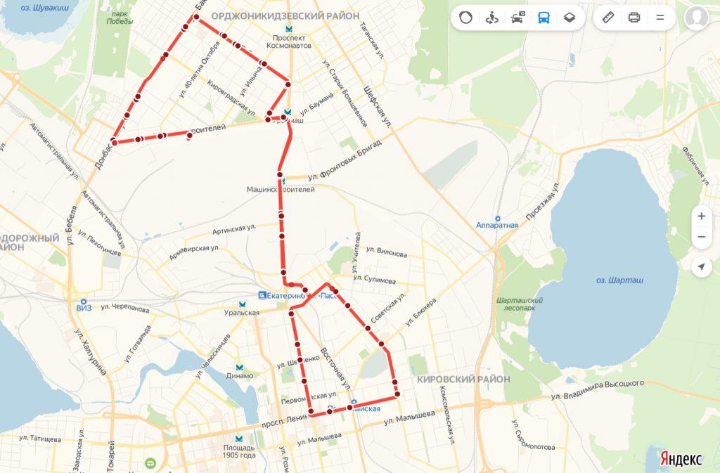 Схема трамвайного маршрута № 22 «Машиностроителей – УрФУ – Машиностроителей»