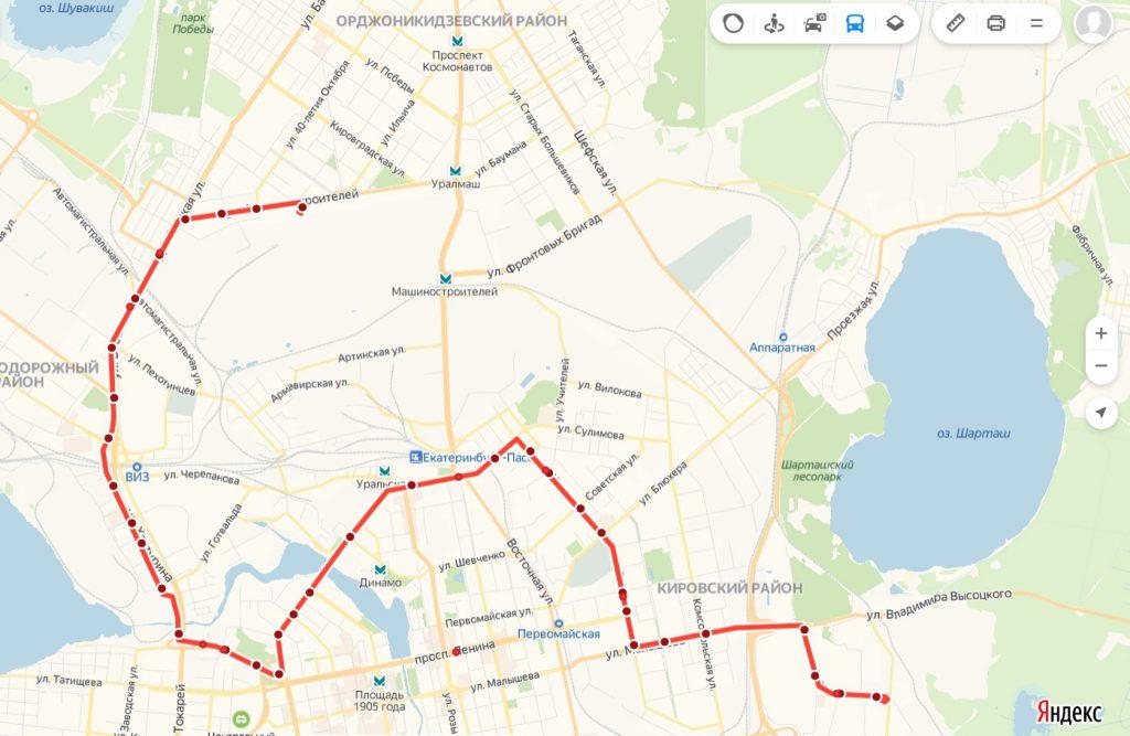 Схема трамвайного маршрута № 2  «40 лет ВЛКСМ – Машиностроителей»