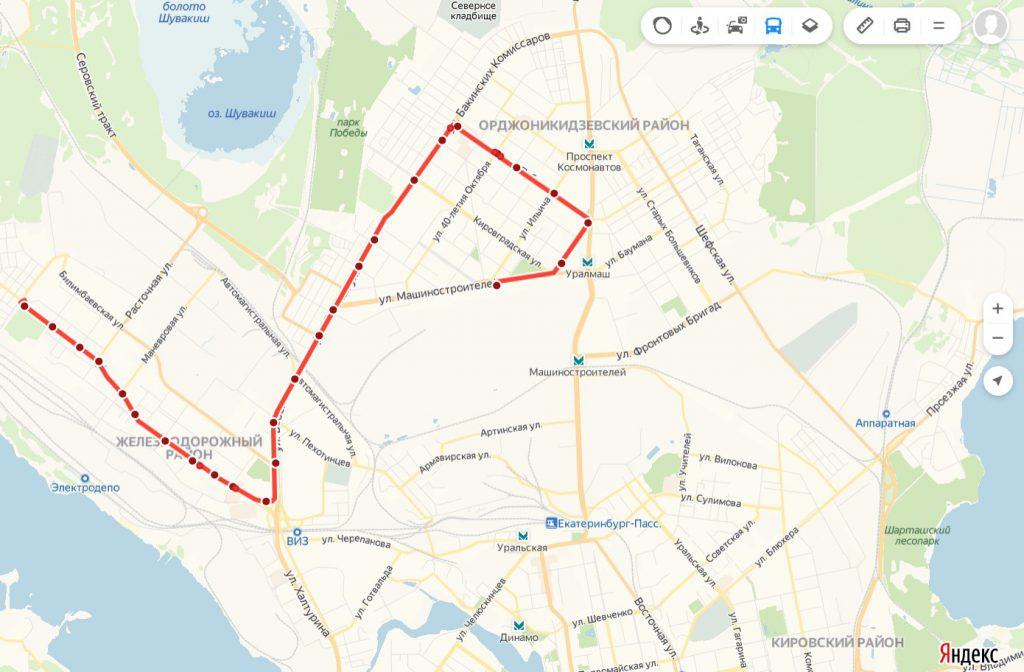 Схема трамвайного маршрута № 24  «УЗТМ – 7 ключей»