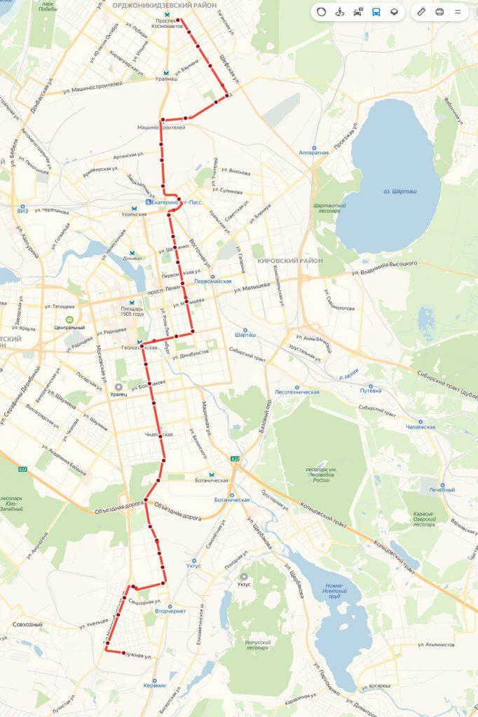Схема трамвайного маршрута № 25  «Керамическая – Фрезеровщиков»