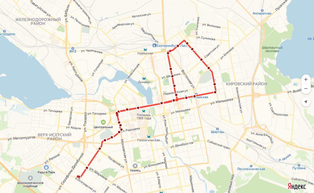 Схема трамвайного маршрута № 26  «Волгоградская – УрФУ – Волгоградская »