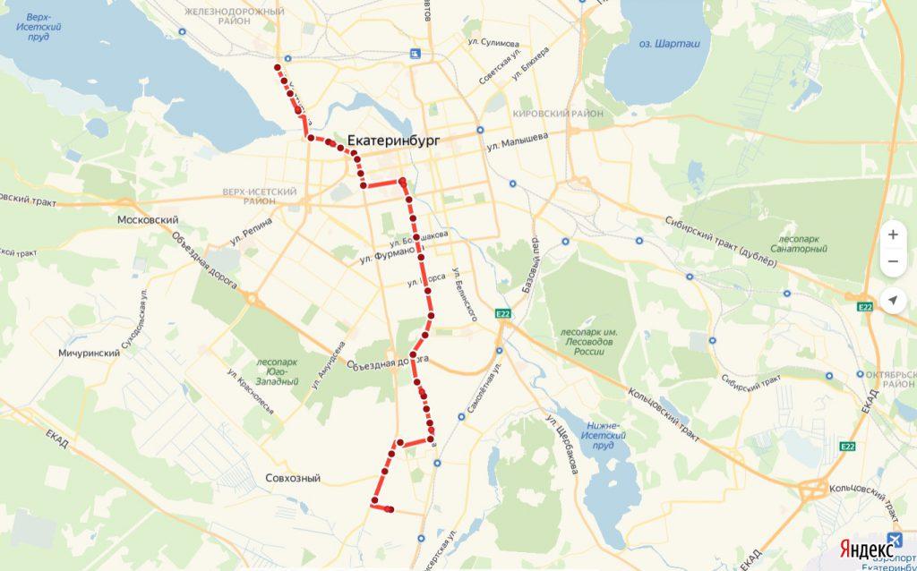 Схема трамвайного маршрута № 27  «Керамическая – Фармацевтический колледж»
