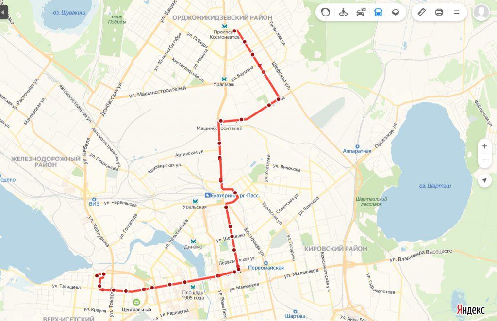 Схема трамвайного маршрута № 2  «ВИЗ – Фрезеровщиков»