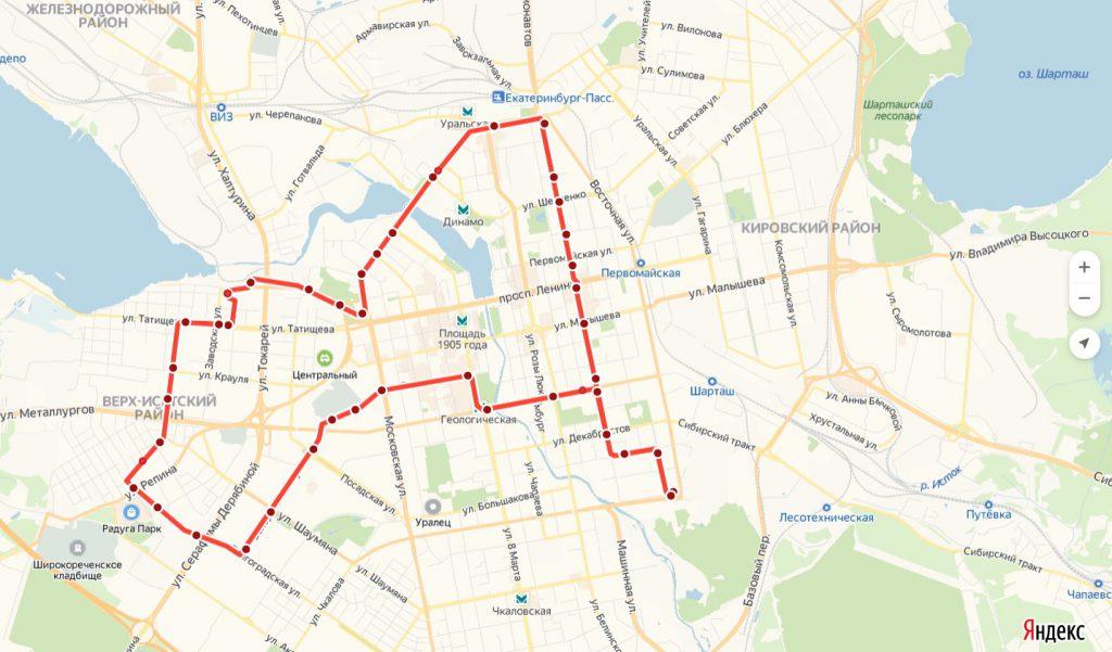 Схема трамвайного маршрута № 3 «ЦПКиО – ВИЗ – ЦПКиО»