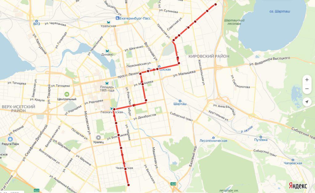 Схема трамвайного маршрута № 4 «Южная – Шарташ»