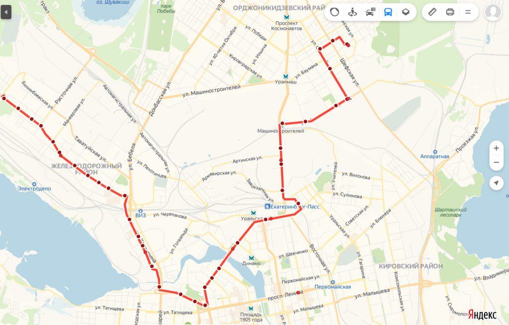 Схема трамвайного маршрута № 7 «Эльмаш – 7 ключей»