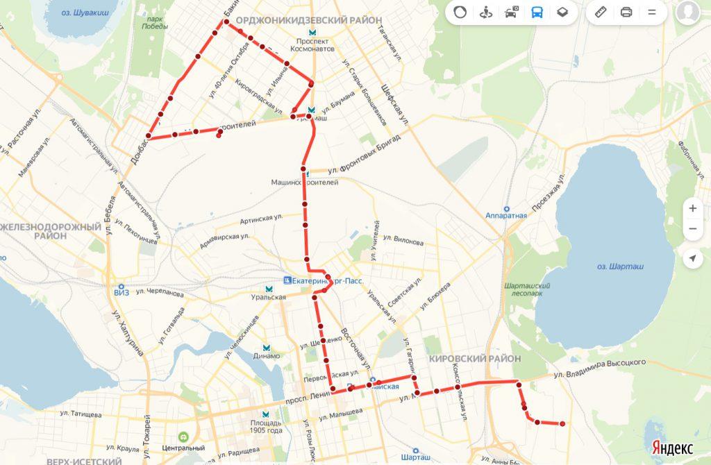 Схема трамвайного маршрута № 8 «40 лет ВЛКСМ – Машиностроителей»