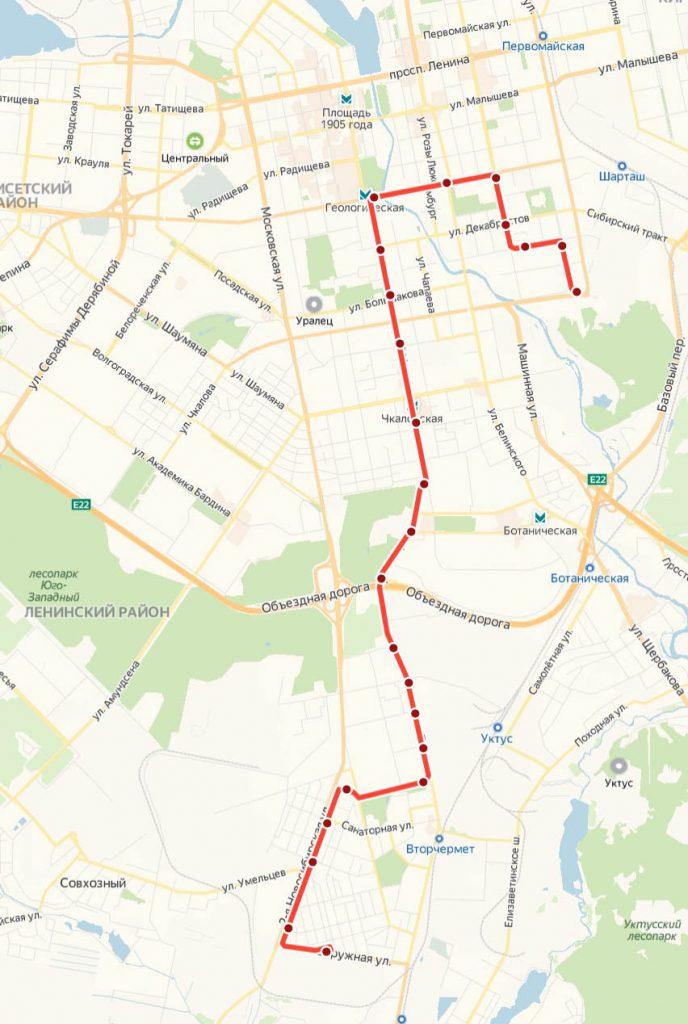 Схема трамвайного маршрута № 9 «Керамическая – ЦПКиО»