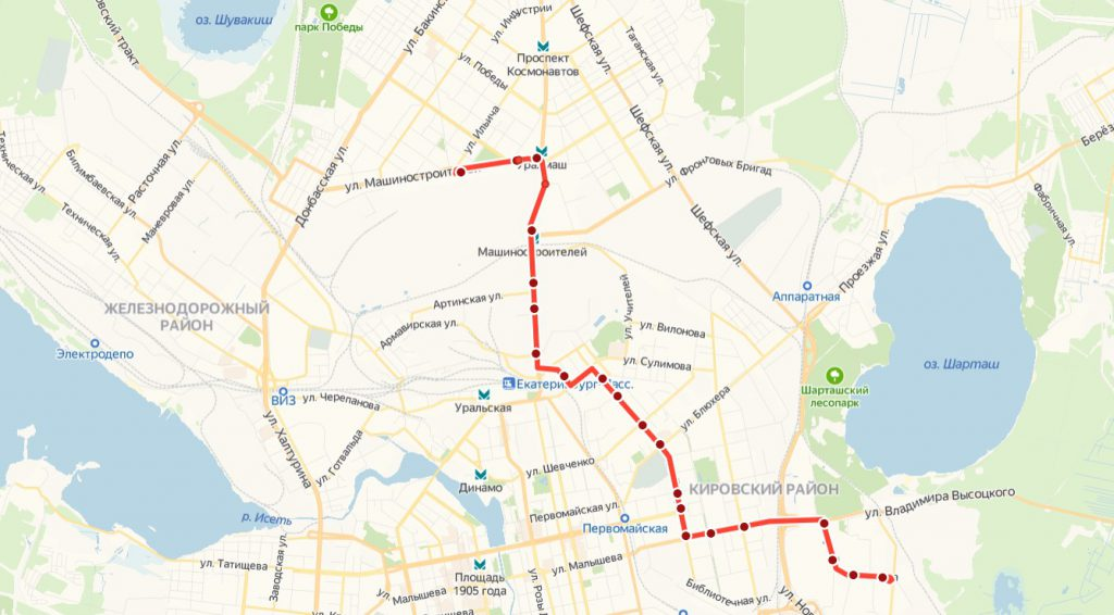 Схема трамвайного маршрута № 5 «УЗТМ – 40 лет ВЛКСМ»