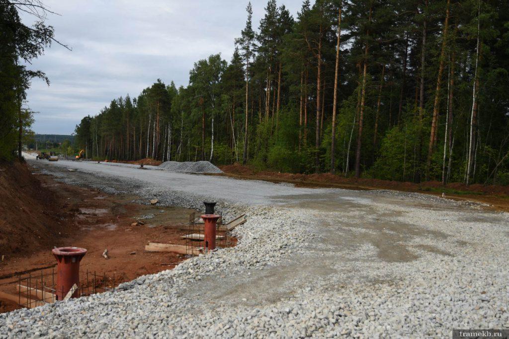 Строительство трамвайной линии в Верхнюю Пышму. Поворот с Ново-Садовой на Меридиональную 2