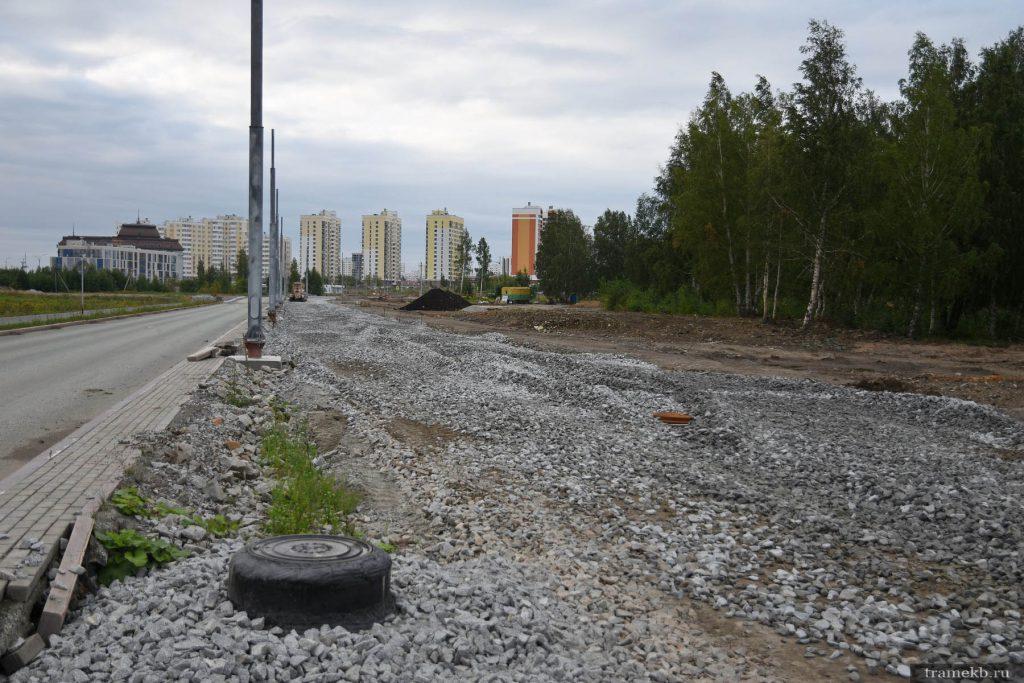 Строительство трамвайной линии в Верхнюю Пышму. Впереди конечная