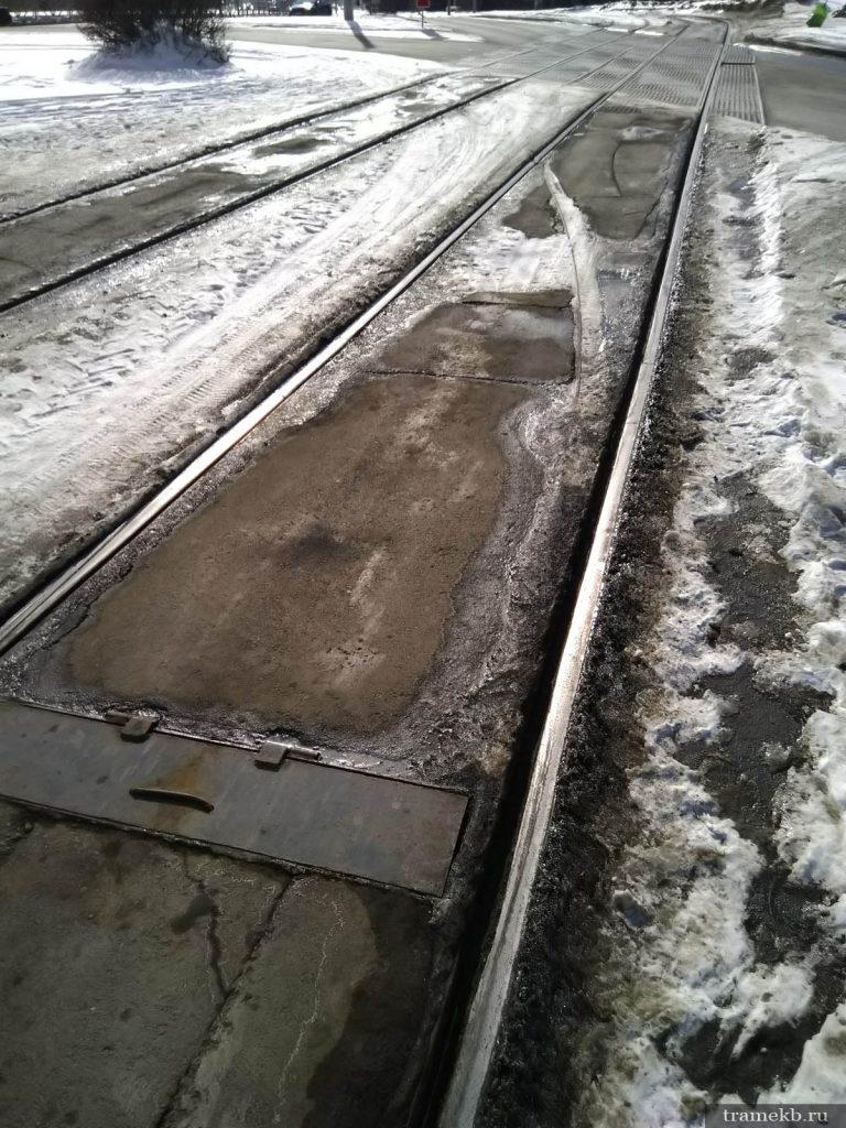 Бывшая въездная стрелка на конечную станцию трамвая «Южная»