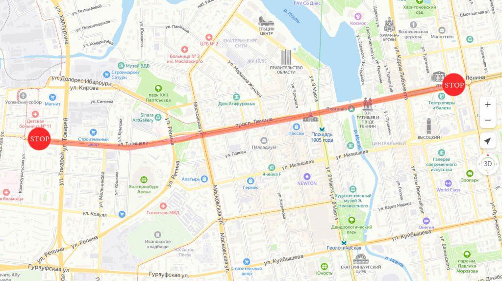 Схема закрытия трамвайного движения на время праздничных мероприятий 9 мая