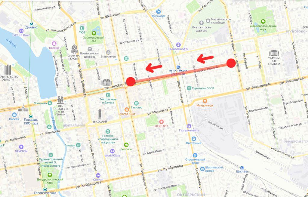 Схема закрытия трамвайного движения при проведении торжественных мероприятий у памятника маршалу Жукову в Екатеринбурге