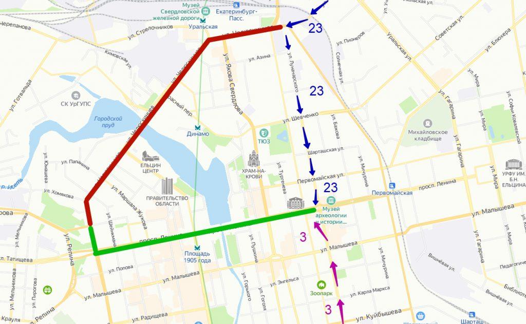 Закрытый на реконструкцию Макаровский мост трамваи будут объезжать по проспекту Ленина. Схема движения