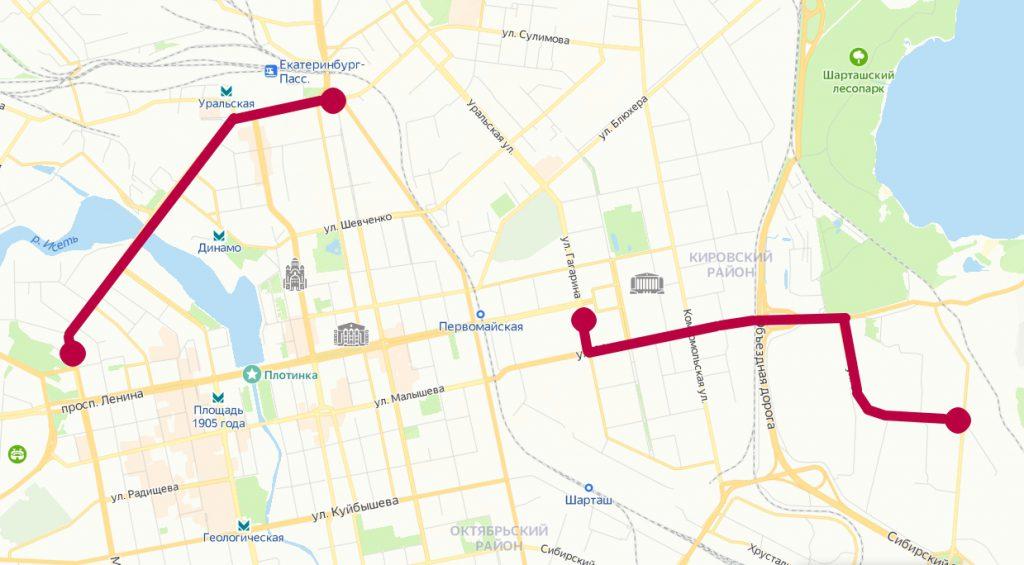 Закрытые участки трамвайного движения 7 и 8 августа 2021 г. в Екатеринбурге