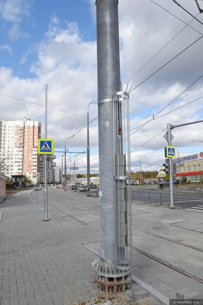 Строительство трамвайной линии в Верхнюю Пышму. Улица Шефская. Грузовой компенсатор