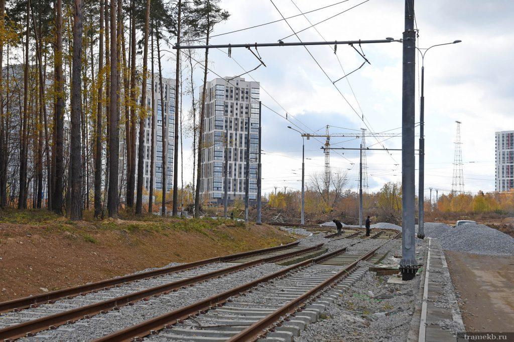Строительство трамвайной линии в Верхнюю Пышму. Поворот с Меридиональной 1 на Ново-Садовую