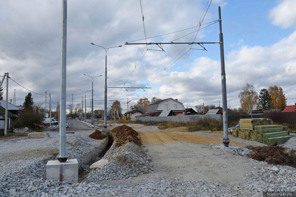 Строительство трамвайной линии в Верхнюю Пышму. Поворот с Меридиональной 2 на ул. Чуцкаева