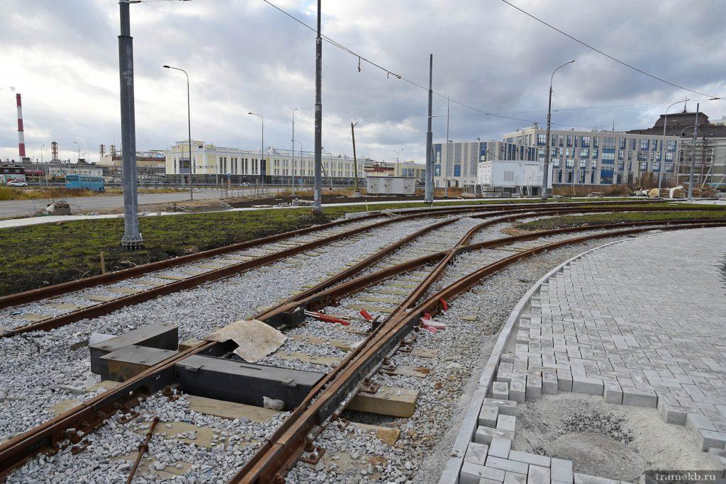Строительство трамвайной линии в Верхней Пышме. Въезд на разворотное кольцо