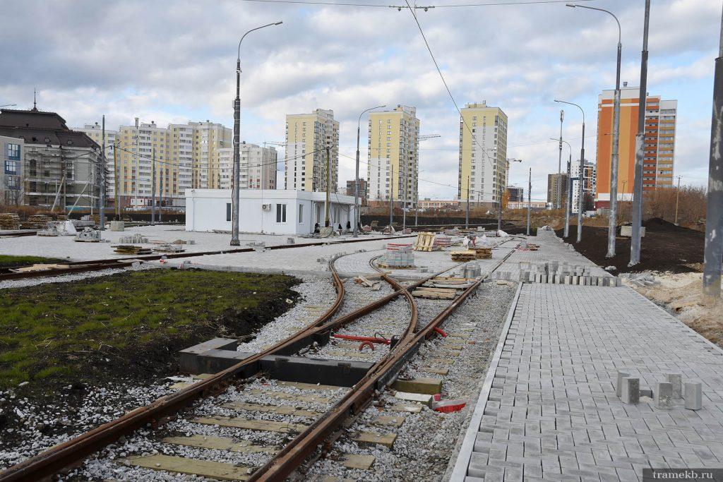 Строительство трамвайной линии в Верхней Пышме. Стрелка на разворотном кольце