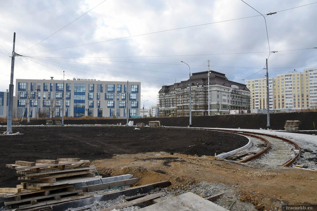 Строительство трамвайной линии в Верхней Пышме. Разворотное кольцо на конечной станции